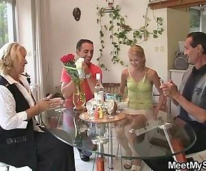 Her birthday ends up with family threesome - 6 min