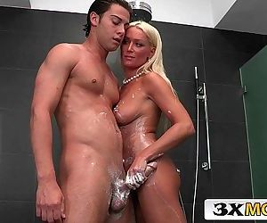 Blonde Bimbo MILF Diana Doll Giving Amazing Handjob in the ShowerHD