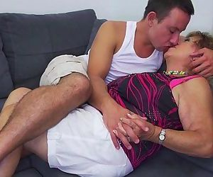 Hot stud undressing and banging a grandma - 6 min
