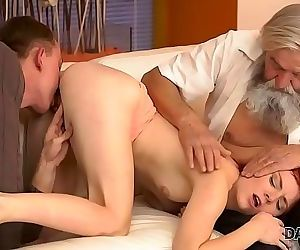 DADDY4K. Dirty boy fingers GF for cheating on him with horny daddy 8 min HD