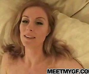 Busty blonde Mom blowjob and facial - 3 min