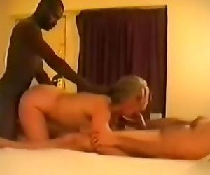 Horny grandma spitroasted by young BBC & White dude hotel XXX