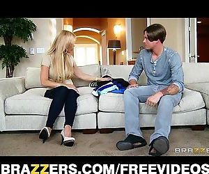 Single blonde mom Amber Lynn rides her son in laws big-dickHD
