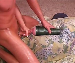 Wife makes husband fuck fleshlight to orgasm while she guides him