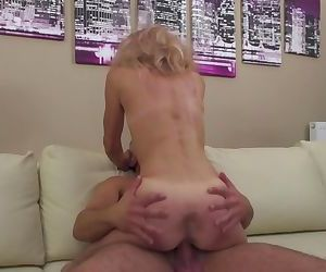 Slim blonde granny loves young cock