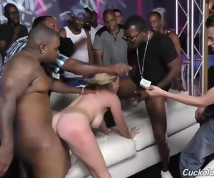Beautiful Blonde Wife Cuckolds Husband in BBC Gangbang