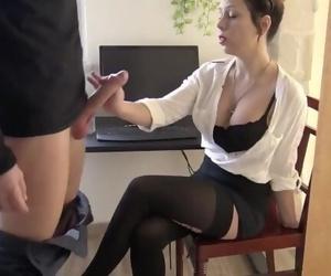 German Amateur Brunette Office Sex