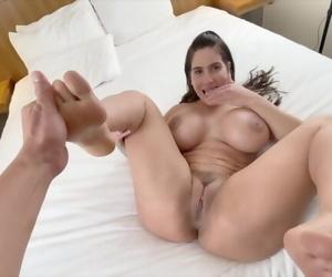 Big Tits MILF Licks her own Feet when she Feels a Dick inside her Pussy