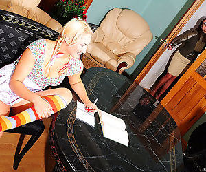 Naughty girlie mounts a table for kissy-licky games with..