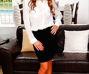 Tall milf tara ashley slips out of her business skirt and..
