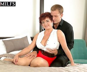 Bigtitted redhead mature divorcee jessica is hot for cock..