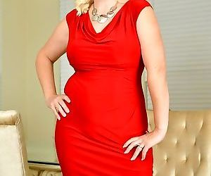 Anna moore busty mature blonde in a red dress stripping -..
