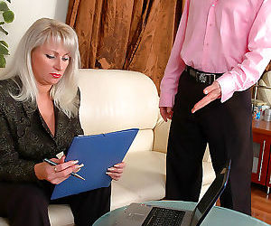 Chubby mature business woman in sheertowaist hose getting..