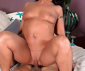 Sexual brunette mature azure dee riding hard cock - part..