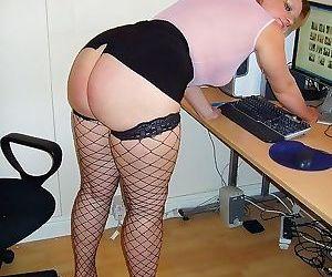 Slut secretary milf daniella spreading in black stockings..
