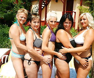 Five old and young lesbians have a party in the sun - part..