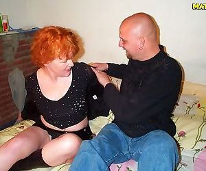 Horny mature redhead sucking and eating cum - part 413