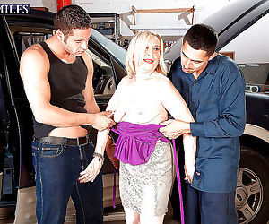Blonde granny miranda torri banged by two mechanics in..