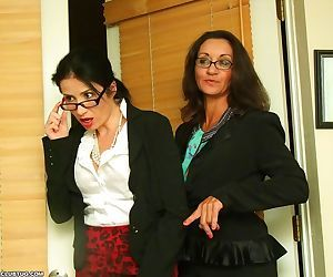 Two hot office secretarieshelped frank to masturbate -..