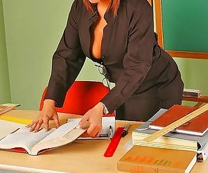 Horny teacher with big boobs fucking student at school -..