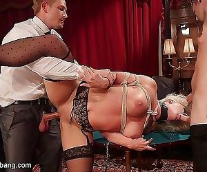 Holly heart busty blonde is gangbanged with dp after a hot..