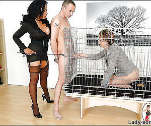 Caged mature lady sucks a cock while - part 2829