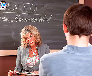 Hot mature teacher shannon west fucks her toy boy - part..