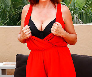 Curvy redhead milf takes off her red dress - part 2356