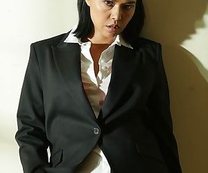 Beautiful Dana Vespoli will take off her business uniform..