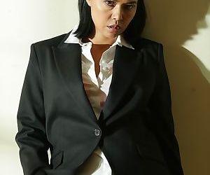 Beautiful Dana Vespoli will take off her business uniform..