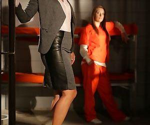Asian female Dana Vespoli begins to undress afore prisoner..