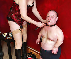 Hot granny Veronica Jade trains oldman dwarf slave by..