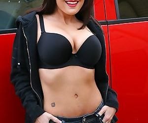 Older woman Lola Lynn undressing inside car to display..