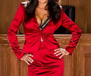 Mature lady lawyer Veronica Avluv strips to nylons and..