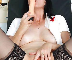 Lusty mature nurse in stockings masturbating her vag by..