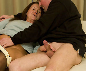 Old mature Gusti Tschopp strips down to give her horny guy..