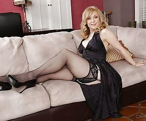 Seductive mature blonde in stockings Nina Hartley..