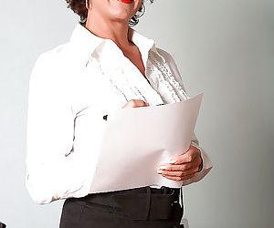 Busty mature secretary in gartered lingerie Jamy Nova..