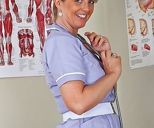 Chubby mature nurse with ample melons undressing and..