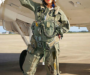 Sizzling mature babe Roni strips from military air force..