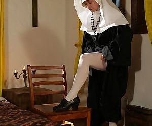 Lusty mature nun with a big booty Nina Hartley pleases..