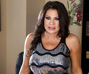 Juggy lady in stockings Teri Weigel undressing and posing..
