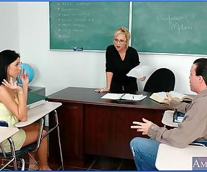 Mature teacher in glasses and sexy coed sharing throbbing..