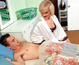 Younger white boy is seduced by horny grandmother on the..