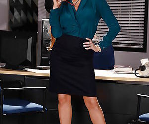 Mature secretary Darla Crane flashing garters and hose..