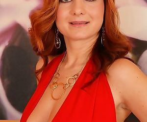 Mature Euro lady Jessica Red revealing big boobs before..