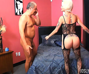 Mature pornstar Joslyn James gets fucked in see thru..