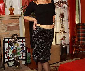 Middle-aged hirsute model Sunshine flaunts her fur covered..