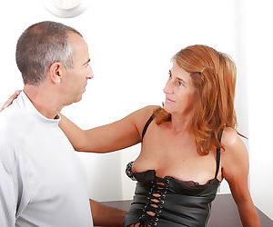 Hairy older woman Meg looking fine in leather bodice and..