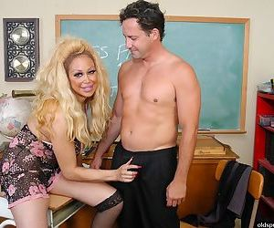 Older schoolteacher Pamela seducing man for oral and..